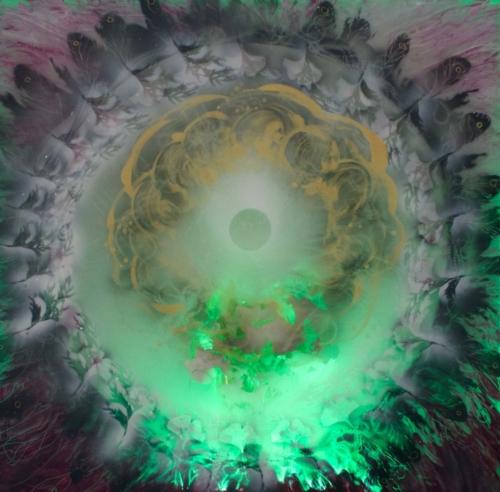 Artêria Carolline Auclair Genkgo de cèdre (Vert) Boite lumineuse, médiums mixtes 30x30 in 76x76 cm 2016