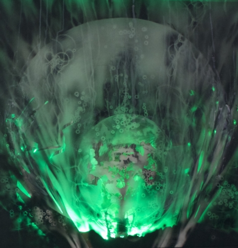 Artêria Carolline Auclair Perle des profondeurs II (Vert) Boite lumineuse, médiums mixtes 30x30 in 76x76 cm 2016